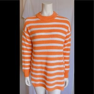 B.Young Women Sweater Size L. Orange Pullover Long